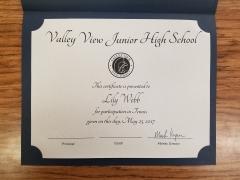 2017 Participate Certificate Lily Webb