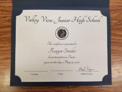 2017 Participate Certificate Reagan Strader