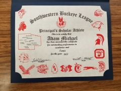 2017 Principal's Scholar Athlete Certificate Adam Michael