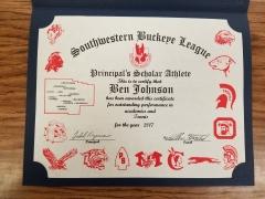 2017 Principal's Scholar Athlete Certificate Ben Johnson