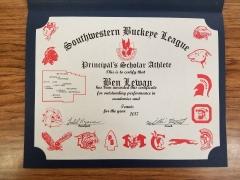 2017 Principal's Scholar Athlete Certificate Ben Lewan