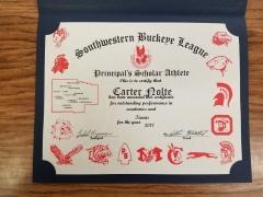 2017 Principal's Scholar Athlete Certificate Carter Nolte