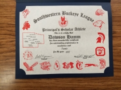 2017 Principal's Scholar Athlete Certificate Dawson Hamm