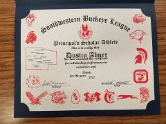 2017 Principal's Scholar Athlete Certificate Dustin Abner
