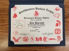 2017 Principal's Scholar Athlete Certificate Ian Barnett