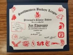 2017 Principal's Scholar Athlete Certificate Ian Thomason
