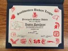 2017 Principal's Scholar Athlete Certificate Justin DeVilbiss