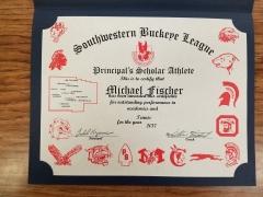 2017 Principal's Scholar Athlete Certificate Michael Fischer