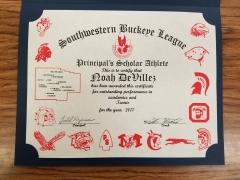 2017 Principal's Scholar Athlete Certificate Noah DeVillez
