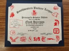 2017 Principal's Scholar Athlete Certificate Noah Harrison