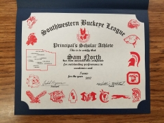 2017 Principal's Scholar Athlete Certificate Sam North