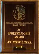 2018 JV Sportsmanship Award Andrew Shell