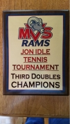 2018 MVS Rams Jon Idle Tennis Tournament Third Doubles 1st Place Trophy Michael Fischer, Carter Nolte