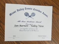 2018 MVTCA All Area Academic Award Ian Barnett