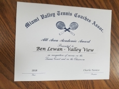 2018 MVTCA All Area Academics Award Ben Lewan