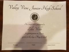 2018 Participate Certificate Lillie Webb