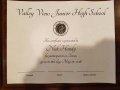 2018 Participate Certificate Nick Handy