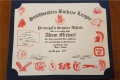 2018 Principal's Scholar Athlete Certificate Adam Michael