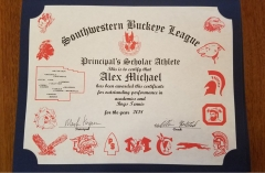 2018 Principal's Scholar Athlete Certificate Alex Michael