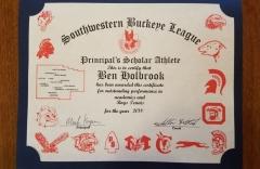 2018 Principal's Scholar Athlete Certificate Ben Holbrook