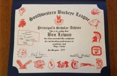 2018 Principal's Scholar Athlete Certificate Ben Lewan