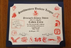 2018 Principal's Scholar Athlete Certificate Caden Citro