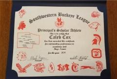 2018 Principal's Scholar Athlete Certificate Caleb Cox