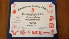 2018 Principal's Scholar Athlete Certificate Carter Nolte