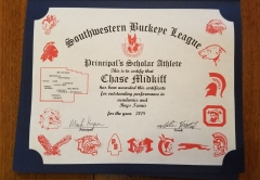 2018 Principal's Scholar Athlete Certificate Chase Midkiff