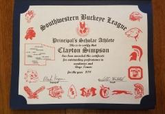 2018 Principal's Scholar Athlete Certificate Clayton Simpson