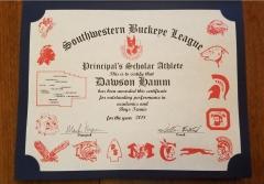 2018 Principal's Scholar Athlete Certificate Dawson Hamm