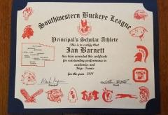 2018 Principal's Scholar Athlete Certificate Ian Barnett