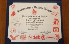 2018 Principal's Scholar Athlete Certificate Isaac Flinders
