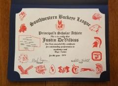 2018 Principal's Scholar Athlete Certificate Justin DeVilbiss