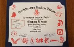 2018 Principal's Scholar Athlete Certificate Michael Benton