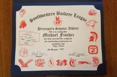 2018 Principal's Scholar Athlete Certificate Michael Fischer