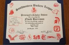 2018 Principal's Scholar Athlete Certificate Noah Harrison