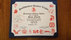 2018 Principal's Scholar Athlete Certificate Sam North